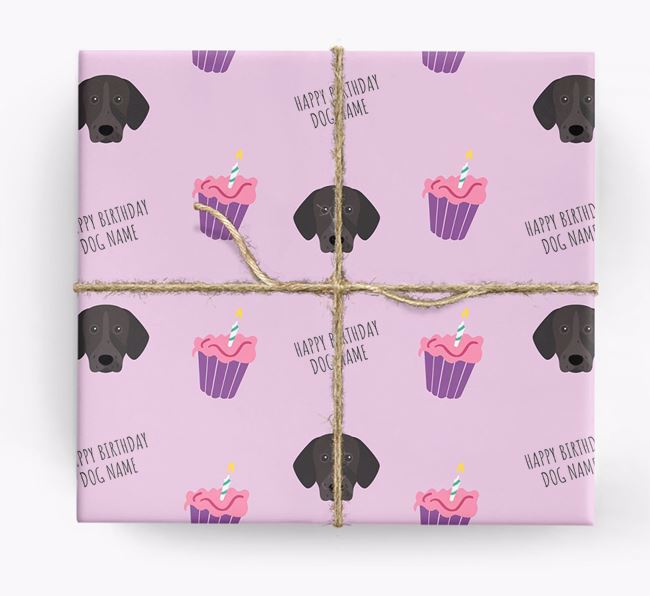 Personalized 'Happy Birthday' Cupcake Wrapping Paper with German Shorthaired Pointer Icons