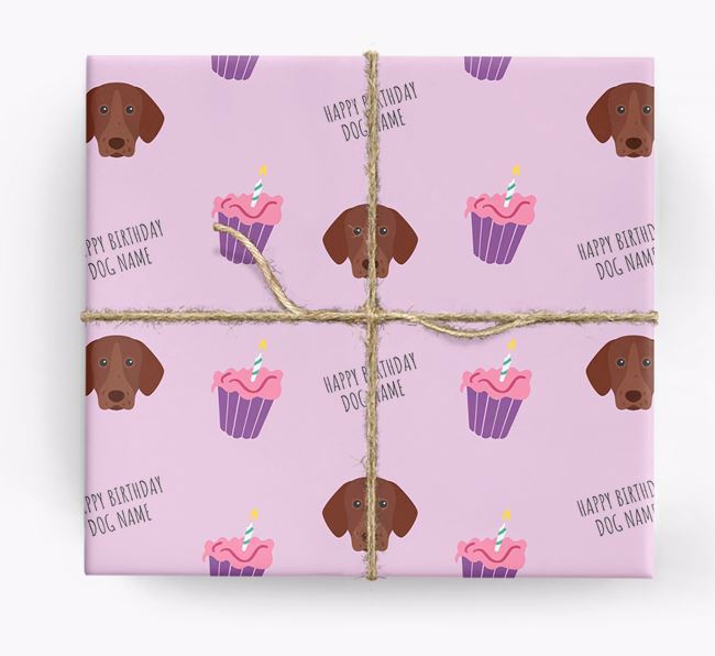 Personalised 'Happy Birthday' Cupcake Wrapping Paper with German Shorthaired Pointer Icons