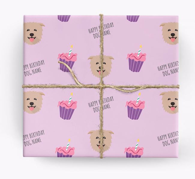 Personalized 'Happy Birthday' Cupcake Wrapping Paper with Glen Of Imaal Terrier Icons