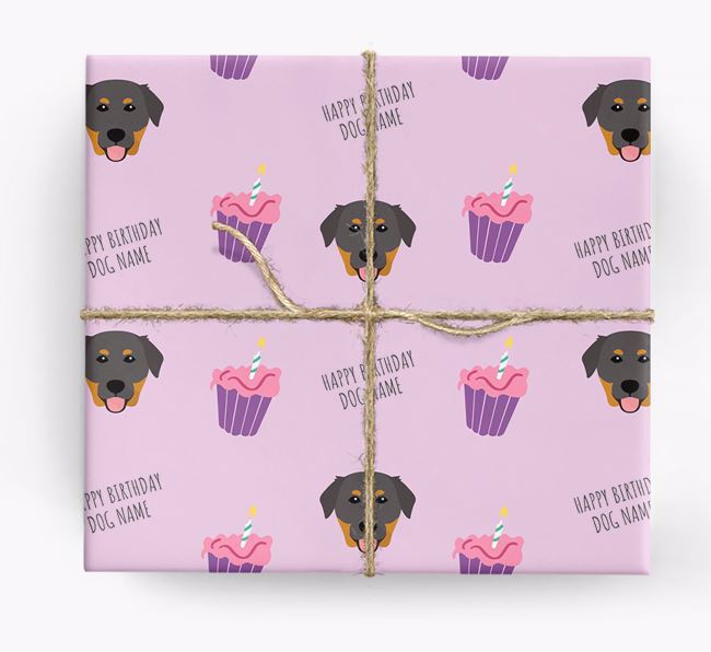 Personalized 'Happy Birthday' Cupcake Wrapping Paper with Golden Labrador Icons
