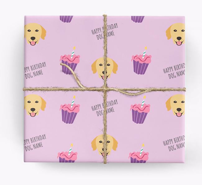 Personalised 'Happy Birthday' Cupcake Wrapping Paper with Golden Retriever Icons