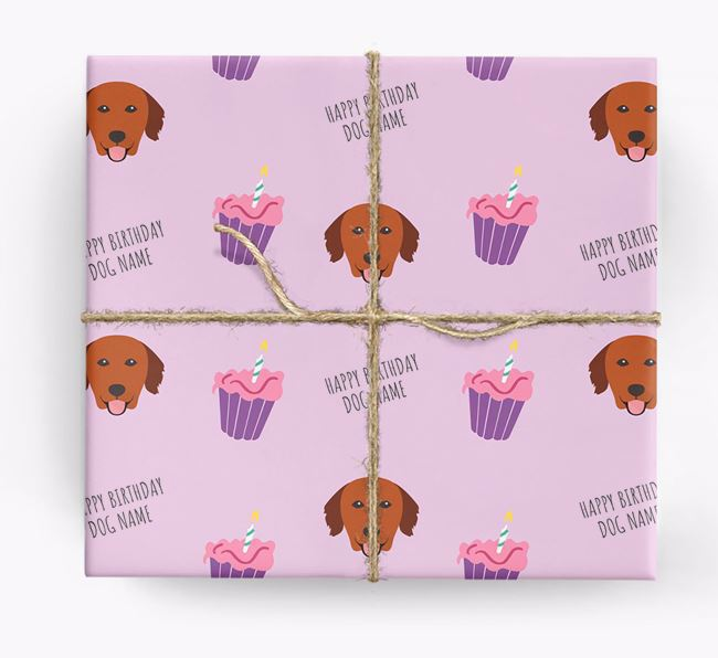 Personalized 'Happy Birthday' Cupcake Wrapping Paper with Golden Retriever Icons