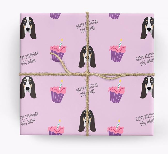 Personalised 'Happy Birthday' Cupcake Wrapping Paper with Grand Bleu De Gascogne Icons