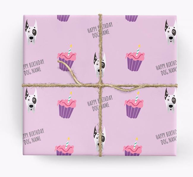 Personalised 'Happy Birthday' Cupcake Wrapping Paper with Great Dane Icons