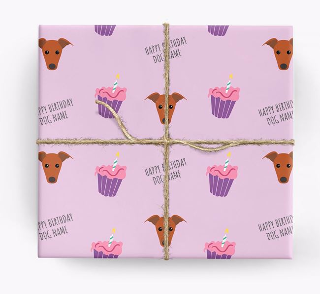 Personalized 'Happy Birthday' Cupcake Wrapping Paper with Greyhound Icons