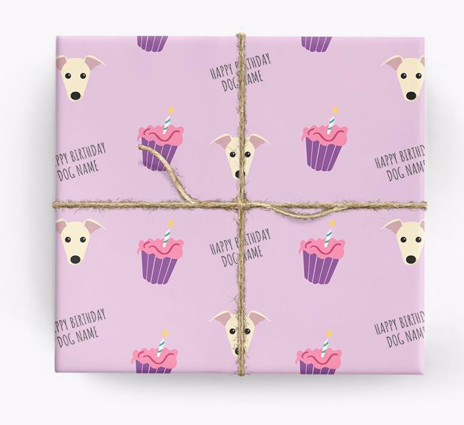 Personalised 'Happy Birthday' Cupcake Wrapping Paper with Greyhound Icons