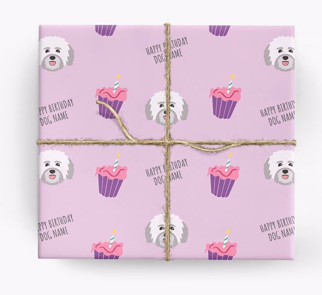 Personalized 'Happy Birthday' Cupcake Wrapping Paper with Havanese Icons