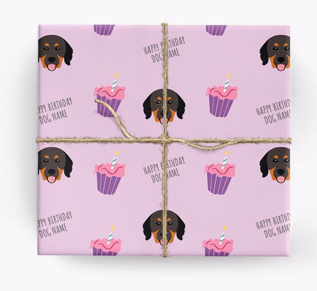 Personalized 'Happy Birthday' Cupcake Wrapping Paper with Hovawart Icons