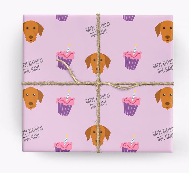 Personalized 'Happy Birthday' Cupcake Wrapping Paper with Hungarian Vizsla Icons