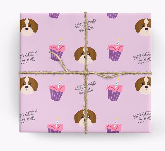 Personalised 'Happy Birthday' Cupcake Wrapping Paper with Jack-A-Poo Icons