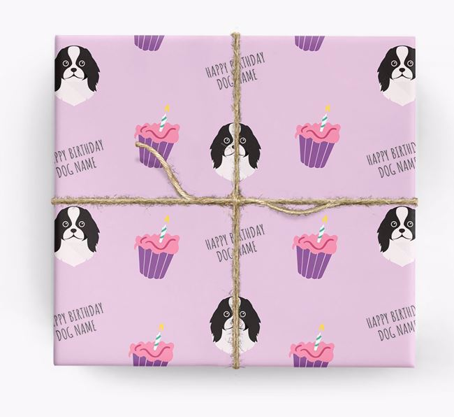 Personalized 'Happy Birthday' Cupcake Wrapping Paper with Japanese Chin Icons