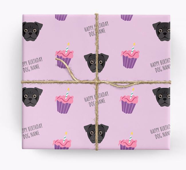 Personalized 'Happy Birthday' Cupcake Wrapping Paper with Jug Icons