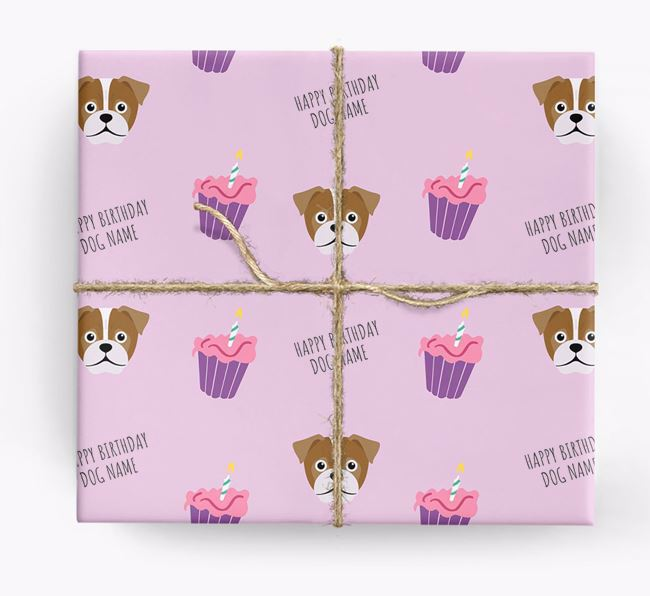 Personalised 'Happy Birthday' Cupcake Wrapping Paper with Jug Icons