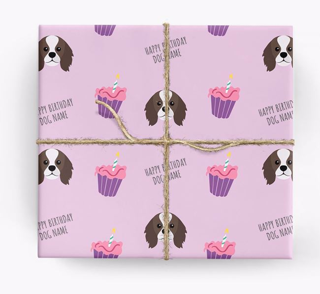Personalized 'Happy Birthday' Cupcake Wrapping Paper with King Charles Spaniel Icons