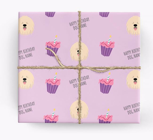 Personalised 'Happy Birthday' Cupcake Wrapping Paper with Komondor Icons