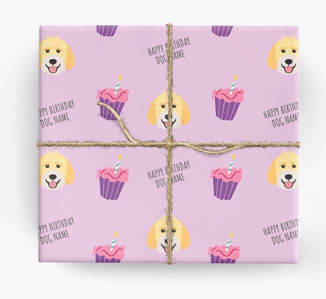 Personalized 'Happy Birthday' Cupcake Wrapping Paper with Labradoodle Icons