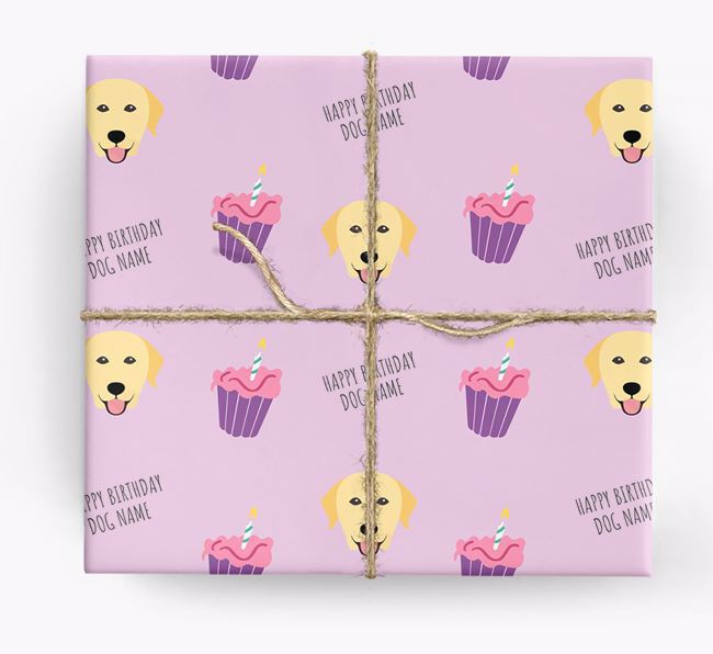 Personalized 'Happy Birthday' Cupcake Wrapping Paper with Labrador Retriever Icons
