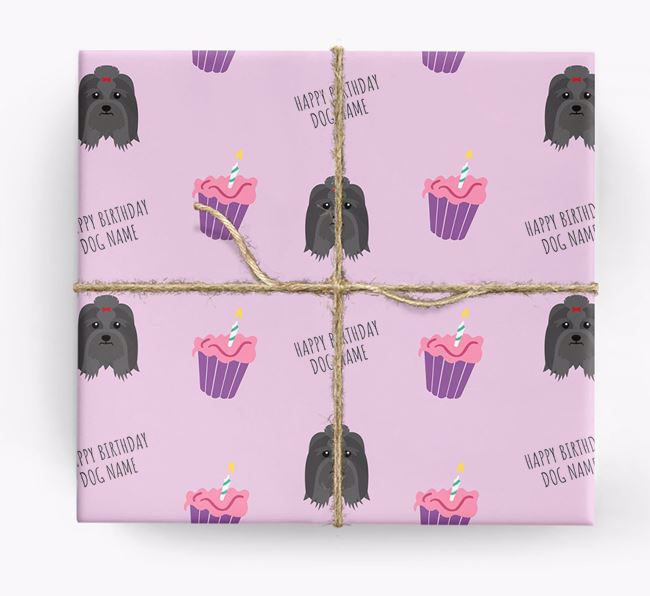 Personalized 'Happy Birthday' Cupcake Wrapping Paper with Lhasa Apso Icons