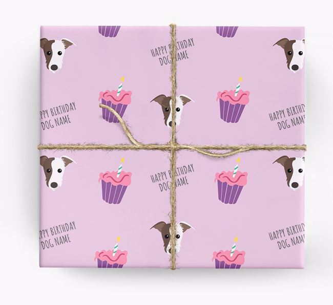 Personalized 'Happy Birthday' Cupcake Wrapping Paper with Lurcher Icons