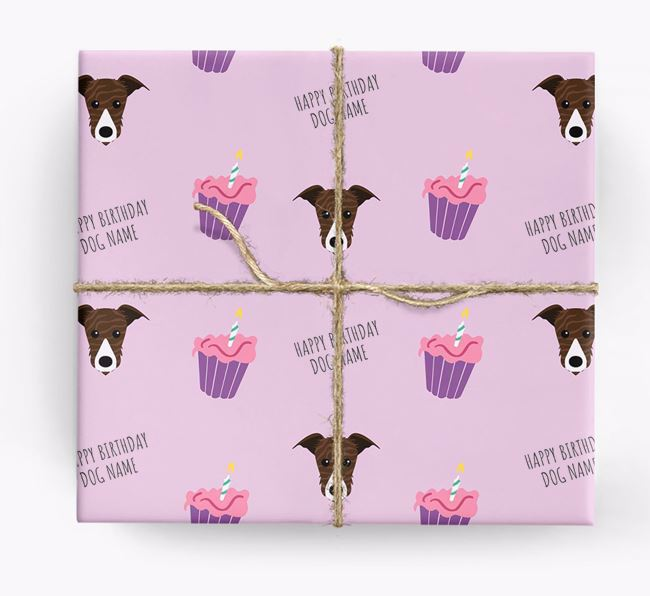 Personalised 'Happy Birthday' Cupcake Wrapping Paper with Lurcher Icons