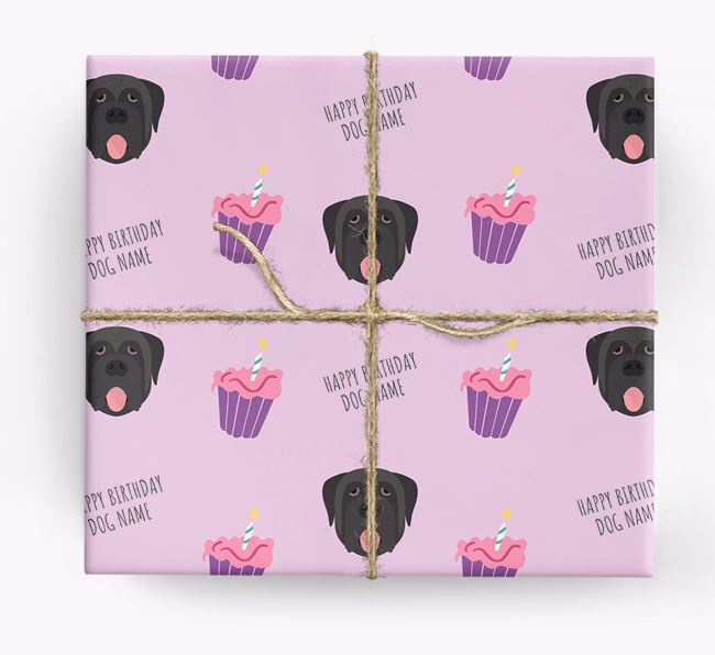Personalized 'Happy Birthday' Cupcake Wrapping Paper with Mastiff Icons