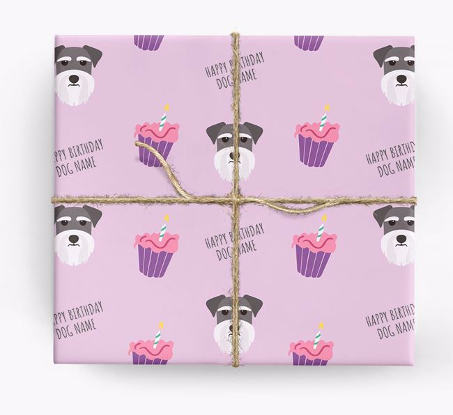 Personalized 'Happy Birthday' Cupcake Wrapping Paper with Miniature Schnauzer Icons