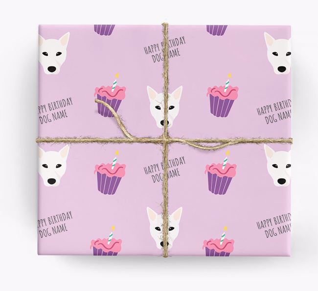 Personalized 'Happy Birthday' Cupcake Wrapping Paper with Mixed Breed Icons
