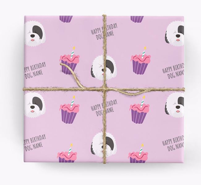 Personalized 'Happy Birthday' Cupcake Wrapping Paper with Old English Sheepdog Icons