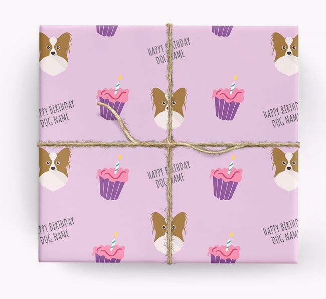 Personalized 'Happy Birthday' Cupcake Wrapping Paper with Papillon Icons