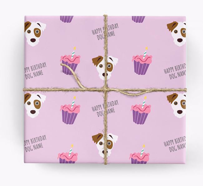 Personalized 'Happy Birthday' Cupcake Wrapping Paper with Parson Russell Terrier Icons