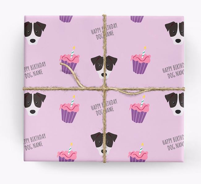 Personalized 'Happy Birthday' Cupcake Wrapping Paper with Patterdale Terrier Icons