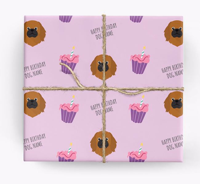 Personalized 'Happy Birthday' Cupcake Wrapping Paper with Pekingese Icons