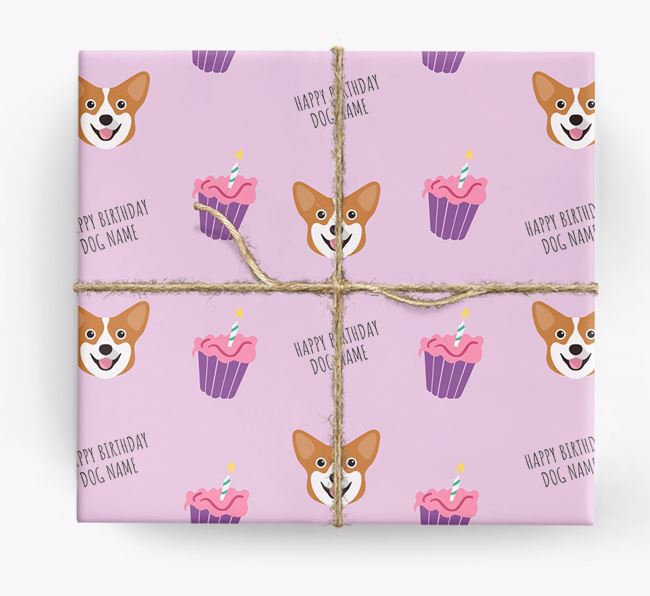 Personalized 'Happy Birthday' Cupcake Wrapping Paper with Pembroke Welsh Corgi Icons