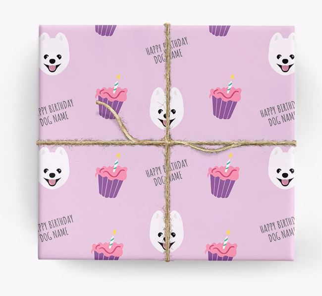 Personalised 'Happy Birthday' Cupcake Wrapping Paper with Pomeranian Icons