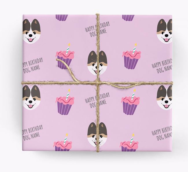 Personalized 'Happy Birthday' Cupcake Wrapping Paper with Pomeranian Icons