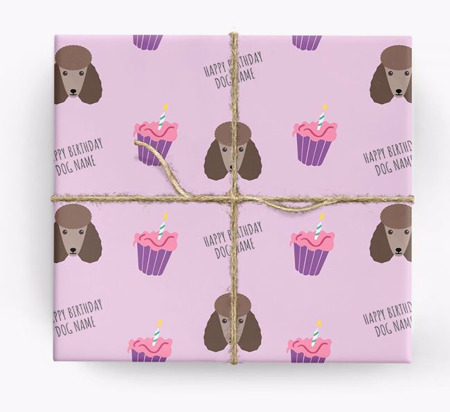 Personalised 'Happy Birthday' Cupcake Wrapping Paper with Poodle Icons