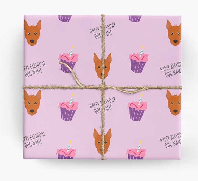 Personalized 'Happy Birthday' Cupcake Wrapping Paper with Portuguese Podengo Icons
