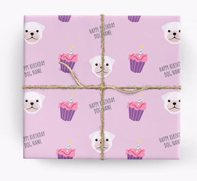 Personalized 'Happy Birthday' Cupcake Wrapping Paper with Pug Icons