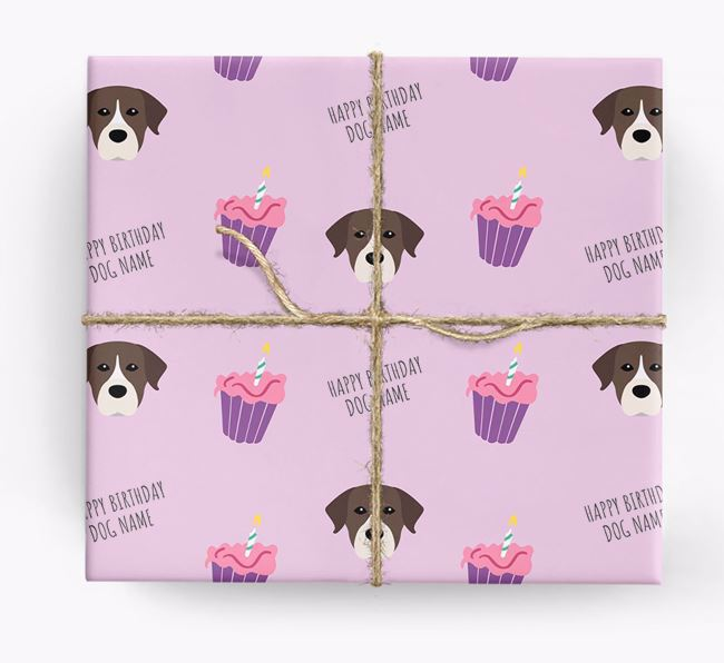 Personalized 'Happy Birthday' Cupcake Wrapping Paper with Rescue Dog Icons