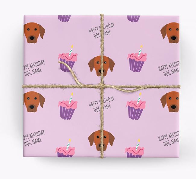 Personalized 'Happy Birthday' Cupcake Wrapping Paper with Rhodesian Ridgeback Icons