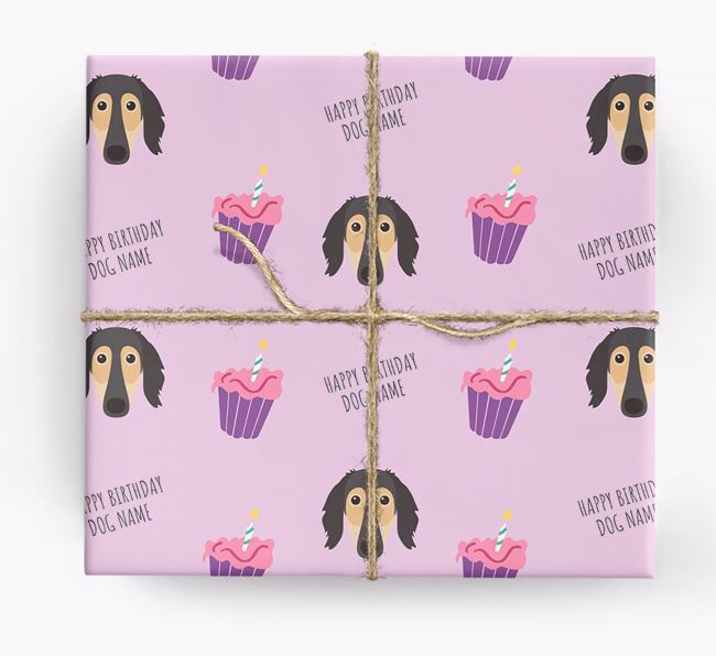 Personalized 'Happy Birthday' Cupcake Wrapping Paper with Saluki Icons