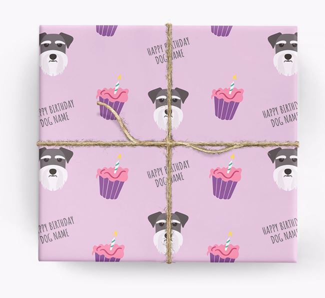 Personalised 'Happy Birthday' Cupcake Wrapping Paper with Schnauzer Icons