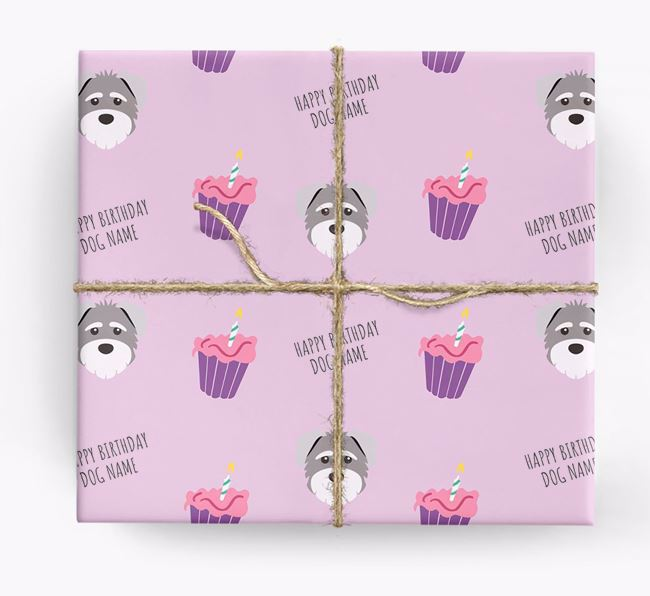 Personalized 'Happy Birthday' Cupcake Wrapping Paper with Schnoodle Icons