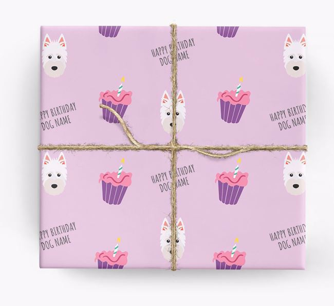 Personalized 'Happy Birthday' Cupcake Wrapping Paper with Scottish Terrier Icons