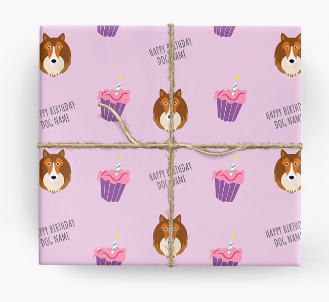 Personalised 'Happy Birthday' Cupcake Wrapping Paper with Shetland Sheepdog Icons