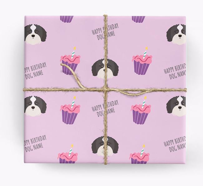 Personalized 'Happy Birthday' Cupcake Wrapping Paper with Shih-poo Icons