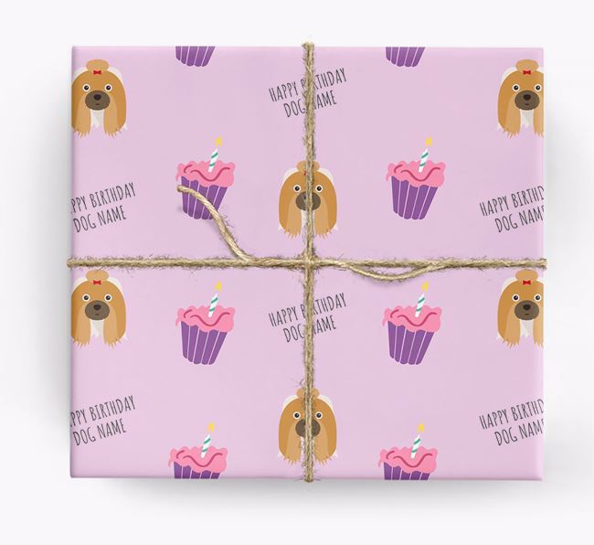 Personalized 'Happy Birthday' Cupcake Wrapping Paper with Shih Tzu Icons