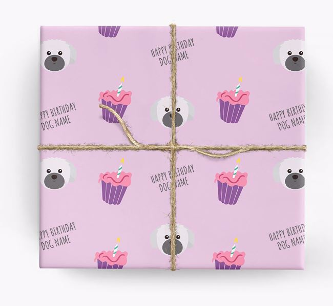 Personalised 'Happy Birthday' Cupcake Wrapping Paper with Shih Tzu Icons