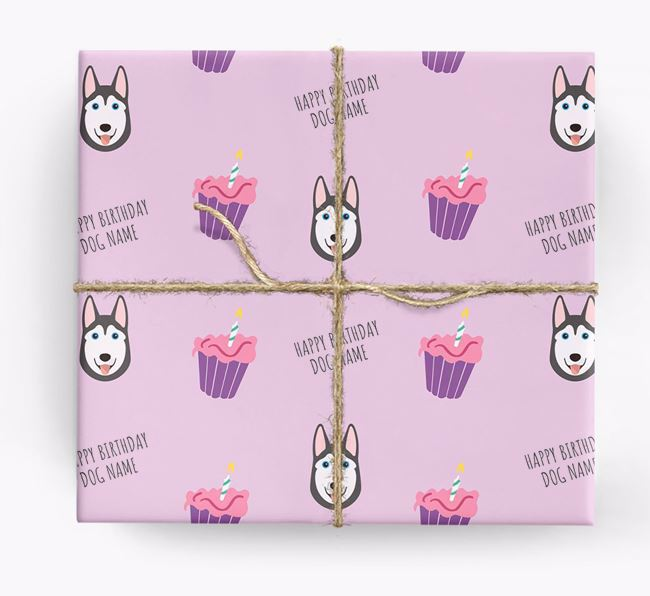 Personalized 'Happy Birthday' Cupcake Wrapping Paper with Dog Icons