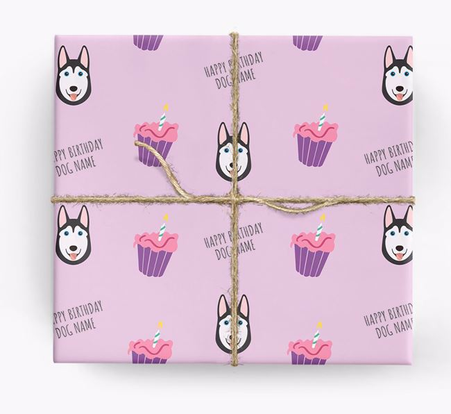 Personalized 'Happy Birthday' Cupcake Wrapping Paper with Siberian Husky Icons